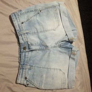 Tight, girlfriend cut jean shorts